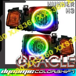 Oracle Halo 2x Headlights For Hummer H3 06-10 Colorshift Dynamic Smd/led