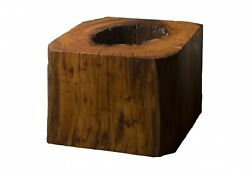 24 Long Coffee Table Wood Cube Dark Brown Wood Smooth Finish 1616