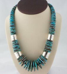 Graduated Natural Kingman Turquoise Disc Bead Necklace With Silver Barrel Beads