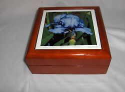 Vintage Brown Lacquer Wood Trinket Jewelry Box Blue Orchid Tile Lid White Cloth
