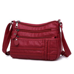 Women Bag Pu Soft Leather Shoulder Bag Multi layer Crossbody Quality Small Bags $11.66