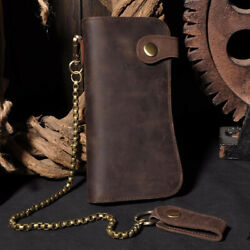 Men's Leather Credit ID Cards Holder Long Chain Wallet Biker Trucker Heavy Thick $23.99