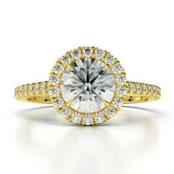 Ds-r-56-219 Accented 1.10 Ct F Si1 Halo Round Diamond Ring 18 K Yellow Gold