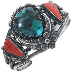 Antiqued Navajo Indian Turquoise Coral Sterling Silver Cuff Bracelet