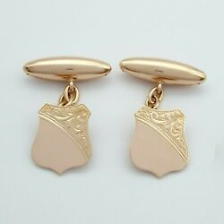 Menand039s Cuff Links 9ct 375 9k Rose Gold Antique Emblem Style Cuff Links