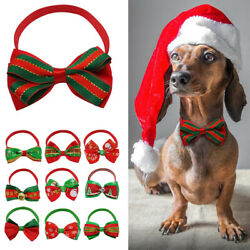 10100pcs Christmas Pet Cat Dog Bow Tie Collar Reflective Necktie&Bell Holiday