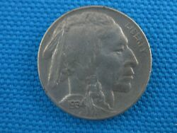 1934 D Uncirculated United States Buffalo Nickel 5 Cent Coin