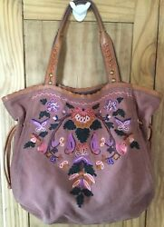 Lucky Brand Womens  Floral Embroidered Floral Brown Canvas Bag Leather Details