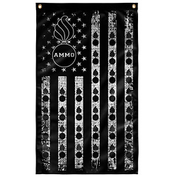 Ammo Pisspots Black And White With Stars And Stripes 3and039 X 5and039 Vertical Polyester