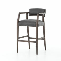 40 Tall Set Of 2 Bar Stool/chair Solid Birch Frame Top Grain Black Leather