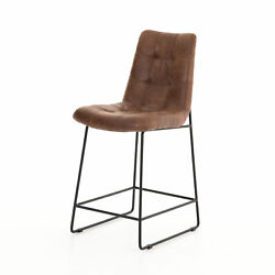 18.5 W Set Of 2 Modern Counter Stool Vintage Tobacco Faux Leather Iron Frame