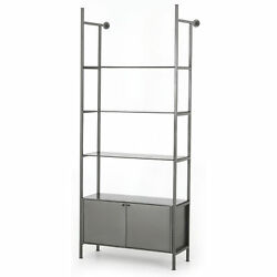 77 T Norma Modular Bookshelf Removable Shelves Concealed Storage Solid Iron