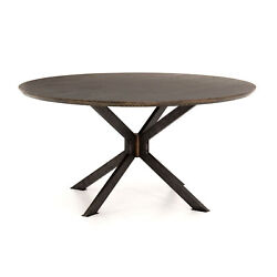 60 W Maurilio Round Dining Table Industrial Iron Base Solid Oak Veneer Top