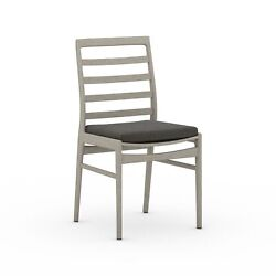 19.75 Set Of 2 Lily Outdoor Dining Chair Modern 100 Olefin Cushion Teak Frame