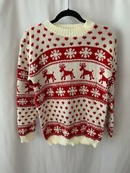 boohoo SM White Red Deer Snowflake Hearts Acrylic Knit Sweater  $10.75
