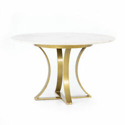 48 Michele Dining Table Iron Marble Cast Brass Polished White Artisan Made