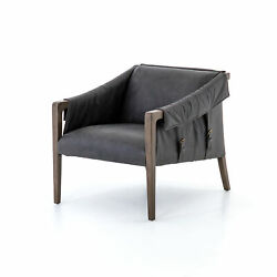 35 Vanna Leather Chair Occasional Birch Chaps Ebony Monument Grey Modern Conte