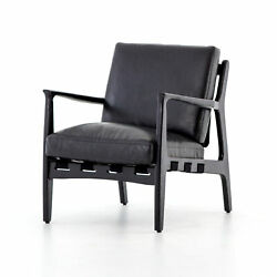 33 Tall Mattia Occasional Chair Aged Black Leather Solid Ash Wood