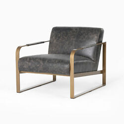 32.5 Isacco Occasional Chair Rialto Ebony Top Grain Leather Antique Brass Frame