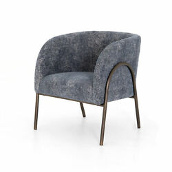 26.5 W Arduino Occasional Chair Soft Blue Fabric Aged Bronze Finished Iron Base