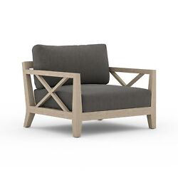 35.5 W Italo Outdoor Occasional Chair Washed Teak Wood Frame 100 Olefin