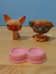 Littlest Pet Shop LPS #1 Chihuahua and #2 Pug Dog Puppy Lot