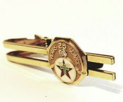 Great Vintage Anson 14k And 12k Gold Filled Mens Tie Clip Texaco 25 Years Service