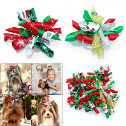 10100pcs Christmas Dog Hair Bows Rubber Band Pet Cat Girls Grooming Accessories