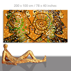 People Paintings Abstract Art Faces On Painted Canvas Golden Heads 78 X 40