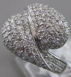 Estate Wide 1.75ctw Diamond 14k White Gold Large Pave Bypass Ring 15mm R22089bo