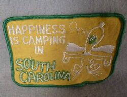 Happiness Is Camping In South Carolina Snoopy Patch Vintage Beagle Sew on Funny