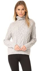 Nwt Vince Cable Knit Wool Blend Turtleneck Sweater H. Grey/off White Sz M 395