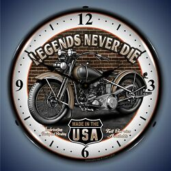Legends Never Die Motorcycle Wall Clock Led Lighted