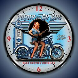Pump N Go Motorcycle Wall Clock Led Lighted