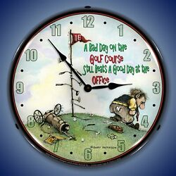 Bad Day On The Golf Course Wall Clock Led Lighted Sports