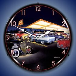 Teds Drive In Wall Clock Led Lighted Bruce Kaiser