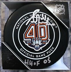 Grant Fuhr Signed Edmonton Oilers 40th Anniversary Official Game Puck W/ Hof 03