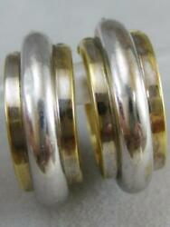 Estate 14kt White And Yellow Gold Wide Stripe Tube Hoops Earrings 25mm L1336.166