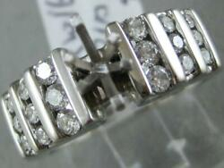 Estate Channel Diamond 14kt W Gold Marquise Semi Mount Engagement Ring L1336.19