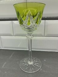 Saint St. Louis Crystal Chartreuse Green Wine Hock Glass Goblet 7 3/4 H France