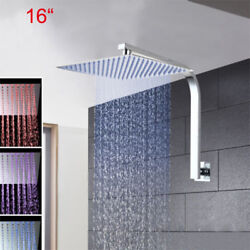 16 Led Chrome Thin Bathroom Shower Head Wall Mounted With Gooseneck Arm Faucet
