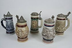 Lot Of 5 Vtg Avon Display Collectible Beer Stein 1976,1977,1978,1979,1980 Euc