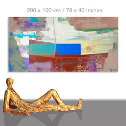 Abstract Paintings Modern Art Wall Hand Painted Canvas Decor Big Ship 78 X 40