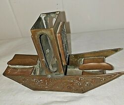 Antique Brass And Jade Chinese Dragon Cigar Cigarette Ashtray Matchbook Holder