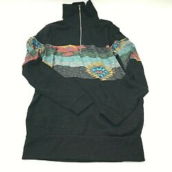 7th Ray Women#x27;s Zipped Pull Over Aztec Print Banded Waist and Wrist SML $21.00