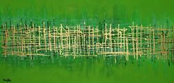 Abstract Paintings Modern Art Wall Hand Painted Canvas Decor Green 78 X 40