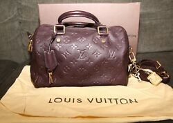 Extremely Rare Limited Color Plum Speedy 30 Lv Louis Vuitton Bag W Charm And Lock