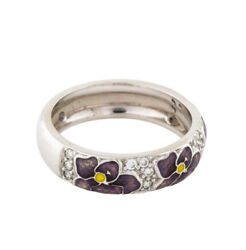 Hidalgo 18k White Gold Purple Enamel Pansy Flowers Diamond Pave Stackable Band