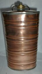 Antique Vintage Large Copper Oval Bottle Flask With Screw Top Bc11
