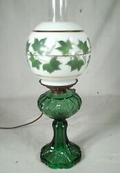 Antique Victorian Green Glass Oil Lamp With Hand Painted Milk Glass Ball Shade